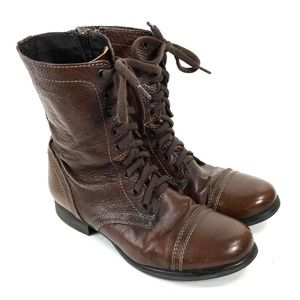 Steve Madden Brown Leather Boho Combat Boots